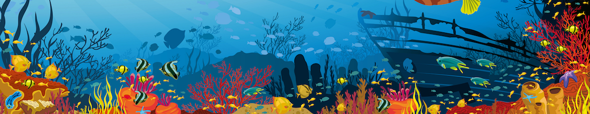 cruise travel agency, blue sea, coral and tropical sea illustration