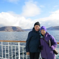 Couple on board ship in Norwegian Fjords
